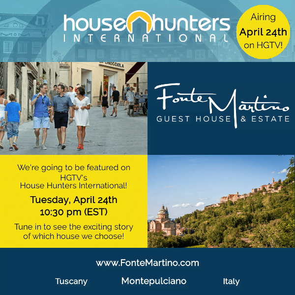 HGTV House Hunters International Announcement for Fonte Martino
