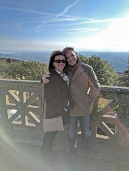 Mom and Toby in Cortona, Italy
