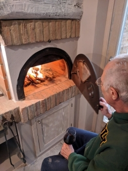 Dad building a fire