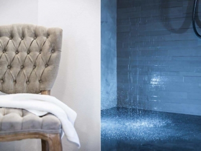 gray textured chair chromotherapy shower