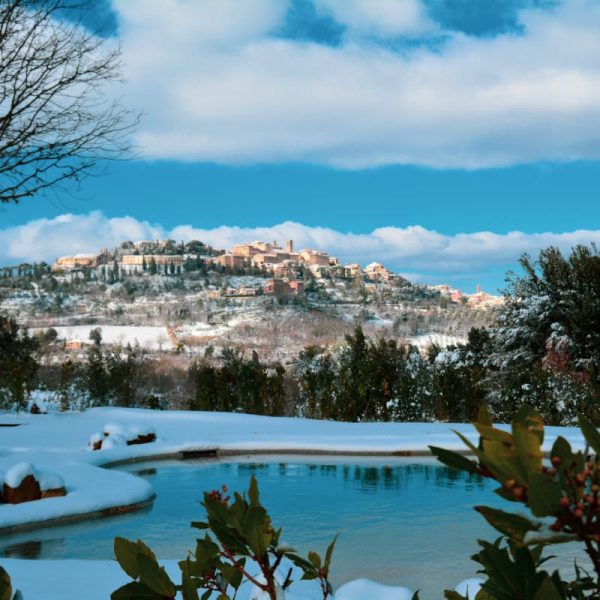 Montepulciano in the winter with snow Tuscany, Italy
